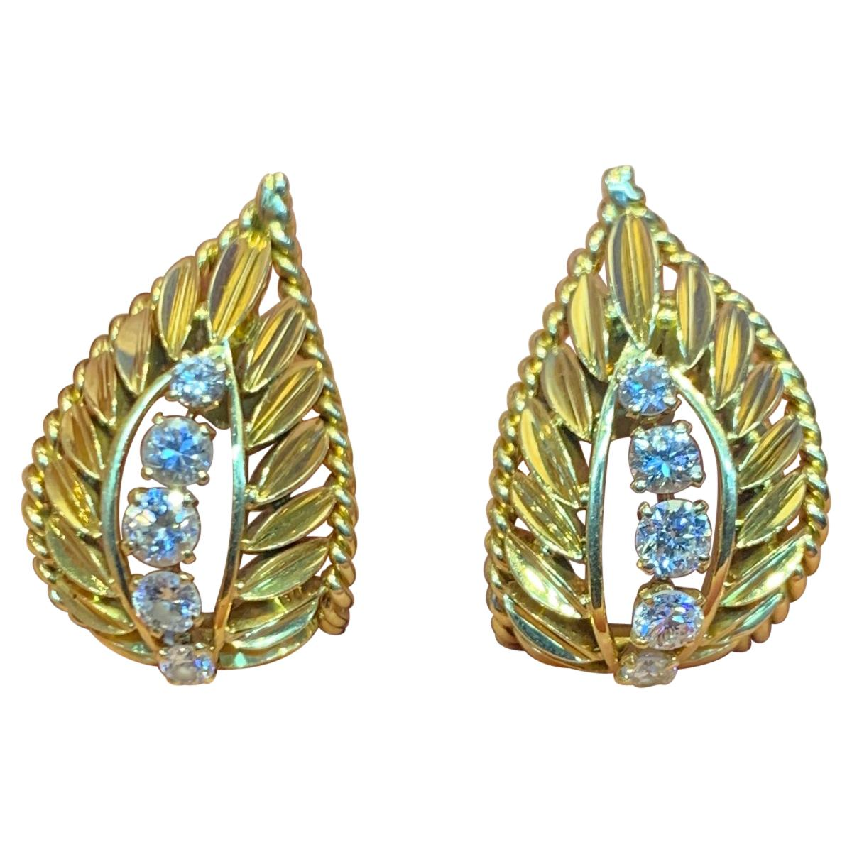 Van Cleef and Arpels Yellow Gold and Diamond Earrings