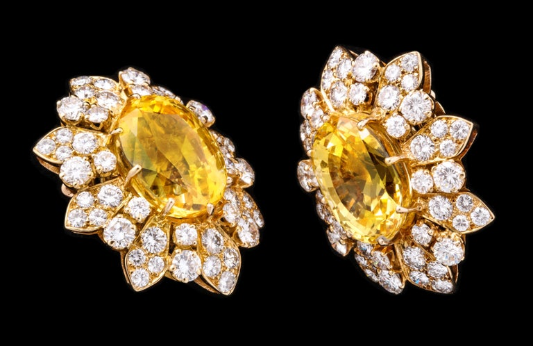 Retro Van Cleef & Arpels Yellow Sapphire and Diamond Earrings For Sale