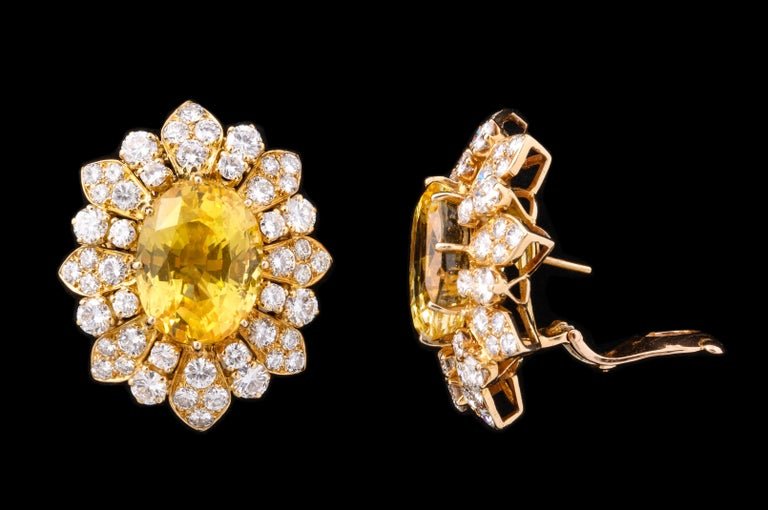 Oval Cut Van Cleef & Arpels Yellow Sapphire and Diamond Earrings For Sale