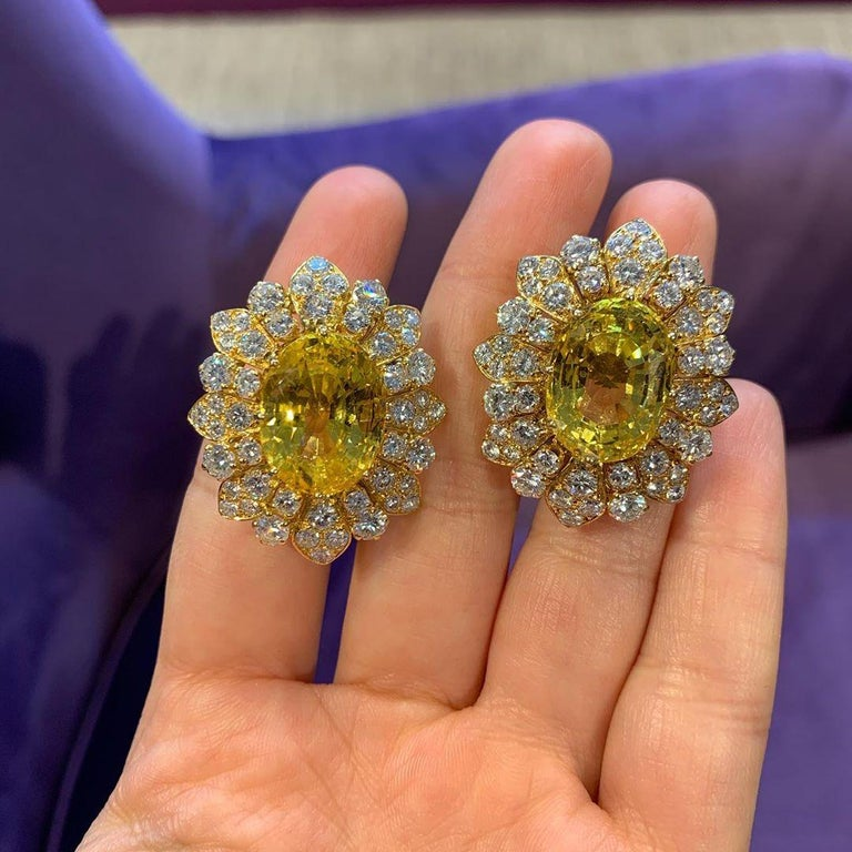 Van Cleef & Arpels Yellow Sapphire and Diamond Earrings For Sale 2