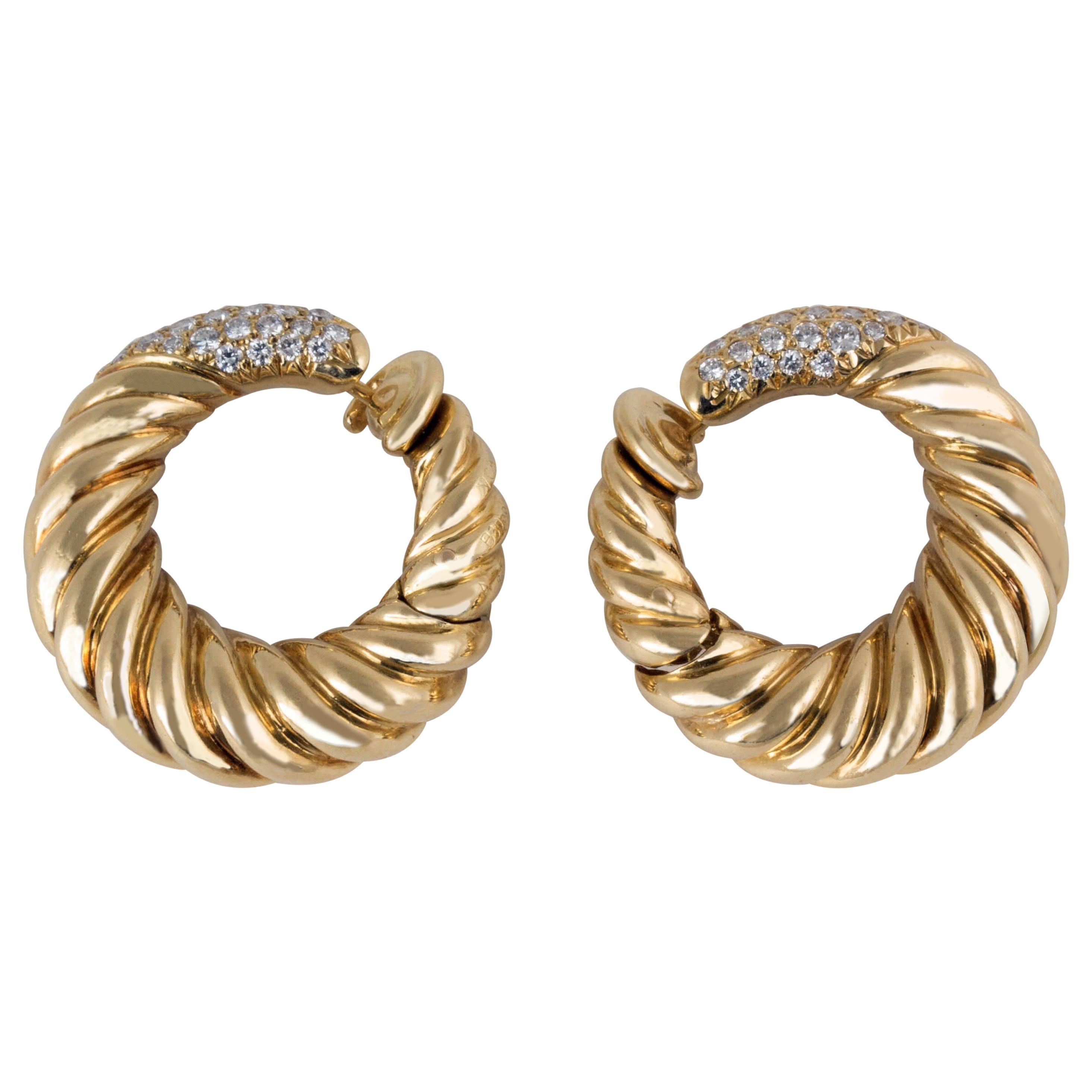 Van Cleef & Arpels 18 Karat Gold Diamond Hoop Earrings