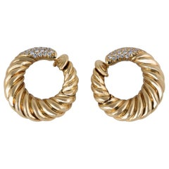 Van Cleef & Arpels 18 Karat Gold Diamond Hoop Earrings