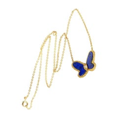 Van Cleef & Arpel Lapis Lazuli and Diamond Butterfly Necklace Limited Edition