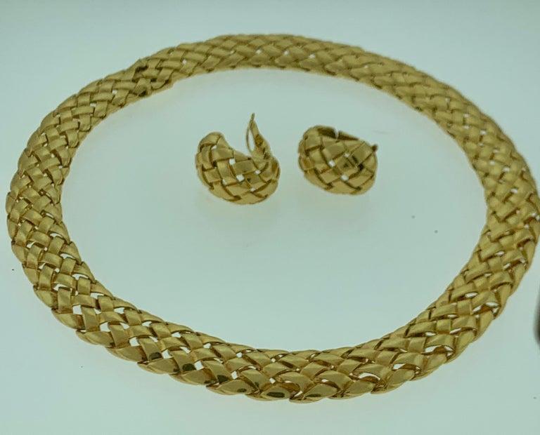 Van Cleef & Arpels Necklace and Earrings Bridal Suite 128 Grams 18k Gold, Estate For Sale 9
