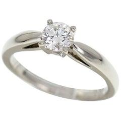 Van Cleef & Arpels 0.43 Carat Diamond Platinum Bonheur Solitaire Ring