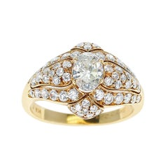 Van Cleef & Arpels 0.55 Carat Oval Diamond Ring Accented with Diamonds, 18K Gold