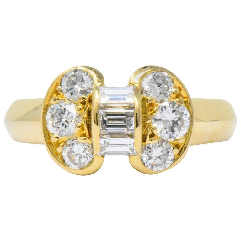 Van Cleef & Arpels 0.60 Carat Diamond 18 Karat Yellow Gold Bow Ring