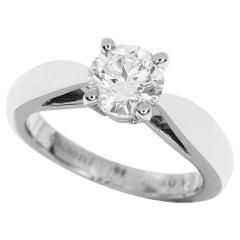 Van Cleef & Arpels 0.71 Carat Diamond Platinum Bonheur Solitaire Ring