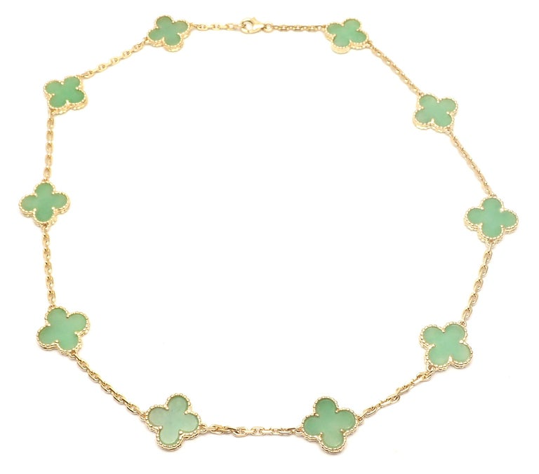 Van Cleef & Arpels 10 Motif Jade Vintage Yellow Gold Alhambra Necklace 6