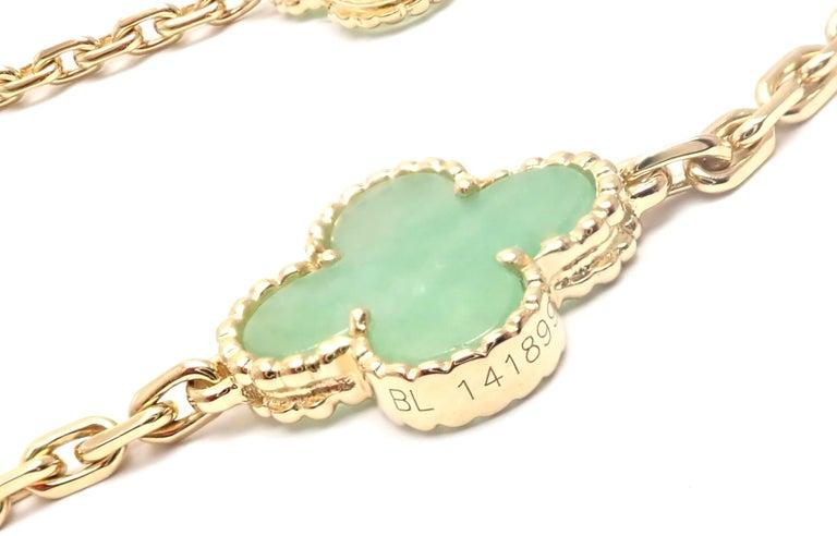 Van Cleef & Arpels 10 Motif Jade Vintage Yellow Gold Alhambra Necklace 7