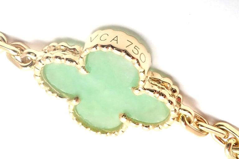 Van Cleef & Arpels 10 Motif Jade Vintage Yellow Gold Alhambra Necklace 8