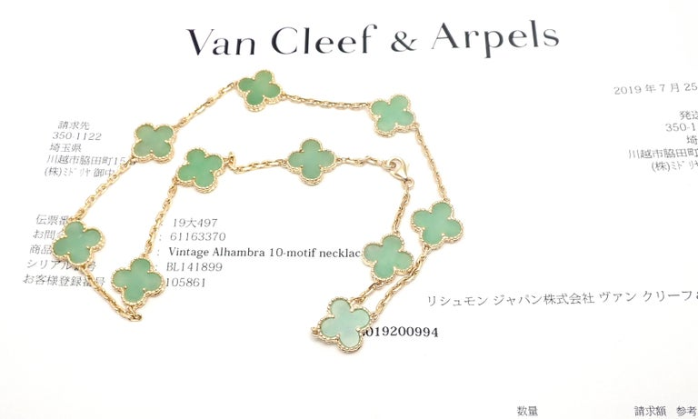 18k Yellow Gold Alhambra 10 Motifs Jade Necklace by Van Cleef & Arpels.  With 10 motifs of jade alhambra stones 15mm each This necklace comes with service paper from VCA store. Details:  Length: 17'' necklace Width: 15mm Weight: 22.6 grams Stamped