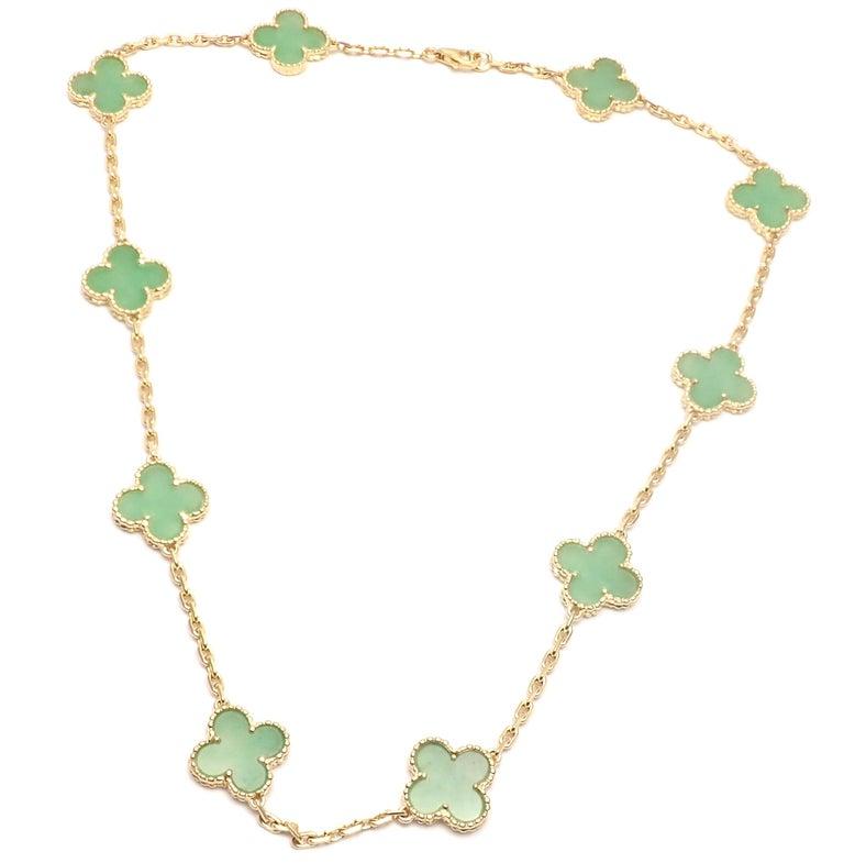 Women's or Men's Van Cleef & Arpels 10 Motif Jade Vintage Yellow Gold Alhambra Necklace