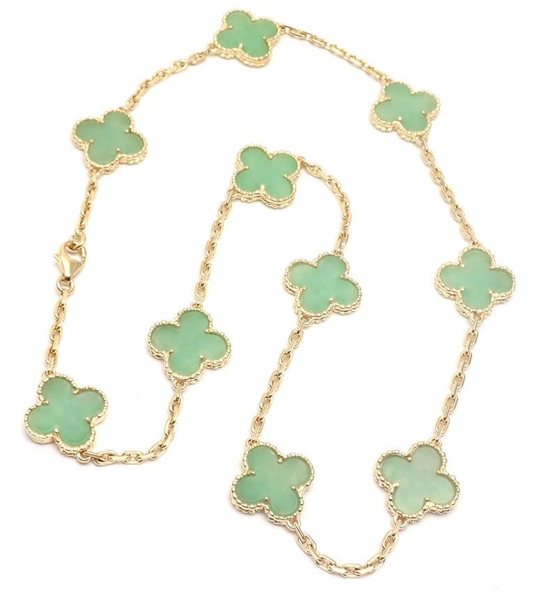 Van Cleef & Arpels 10 Motif Jade Vintage Yellow Gold Alhambra Necklace 1