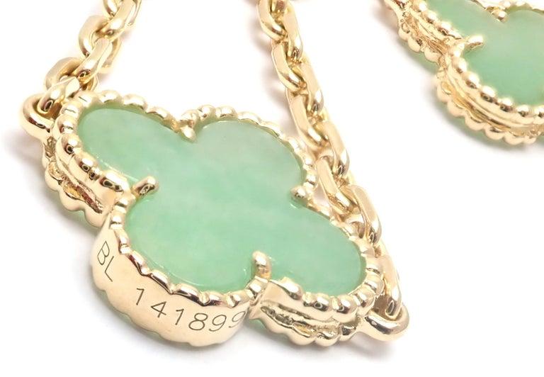 Van Cleef & Arpels 10 Motif Jade Vintage Yellow Gold Alhambra Necklace 2