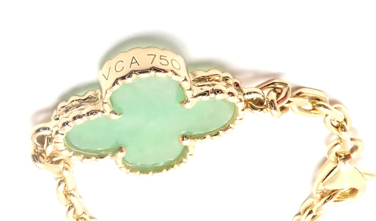 Van Cleef & Arpels 10 Motif Jade Vintage Yellow Gold Alhambra Necklace 3