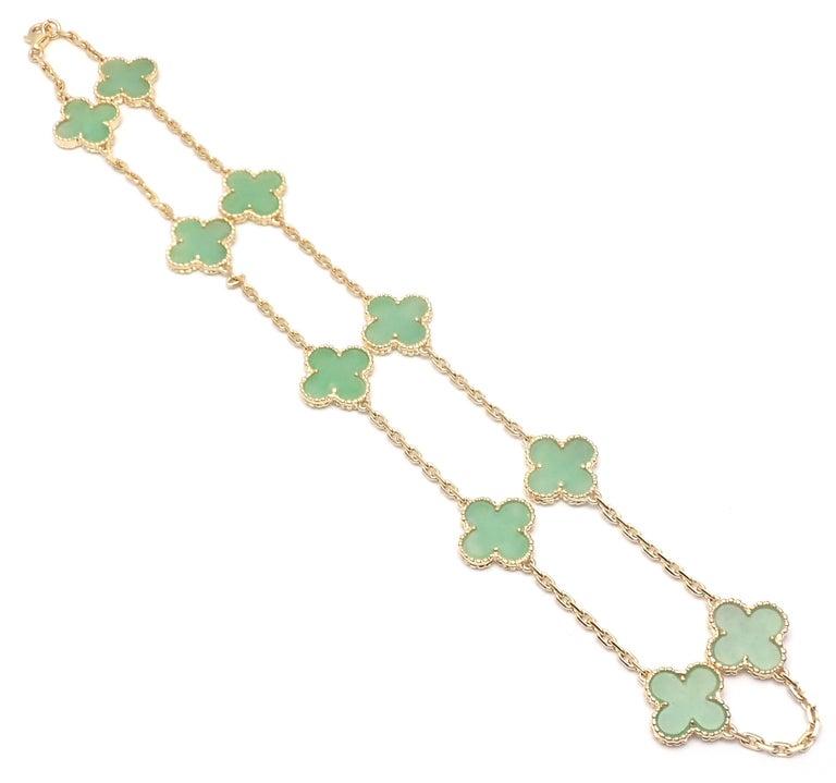 Van Cleef & Arpels 10 Motif Jade Vintage Yellow Gold Alhambra Necklace 4