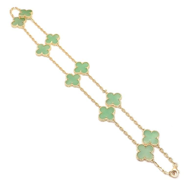 Van Cleef & Arpels 10 Motif Jade Vintage Yellow Gold Alhambra Necklace 5