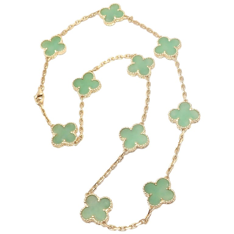 Van Cleef & Arpels 10 Motif Jade Vintage Yellow Gold Alhambra Necklace
