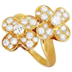Van Cleef & Arpels 1.07 Carat Diamond Yellow Gold Flower Ring