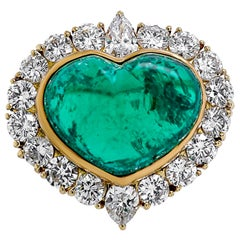 Van Cleef & Arpels 12.04 Karat Diamond and Emerald Ring