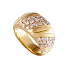 Van Cleef & Arpels 1.25 Carat Diamond Pave Yellow Gold Band Ring