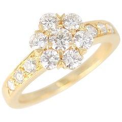Van Cleef & Arpels 1.25 Carat Diamond Yellow Gold One-Row Fleurette Ring