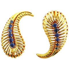 Van Cleef & Arpels 14 Karat Yellow Gold and Sapphire Brooches