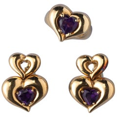 Van Cleef & Arpels 18 Carat Gold Heart Shaped Earrings and Ring with Amethyst