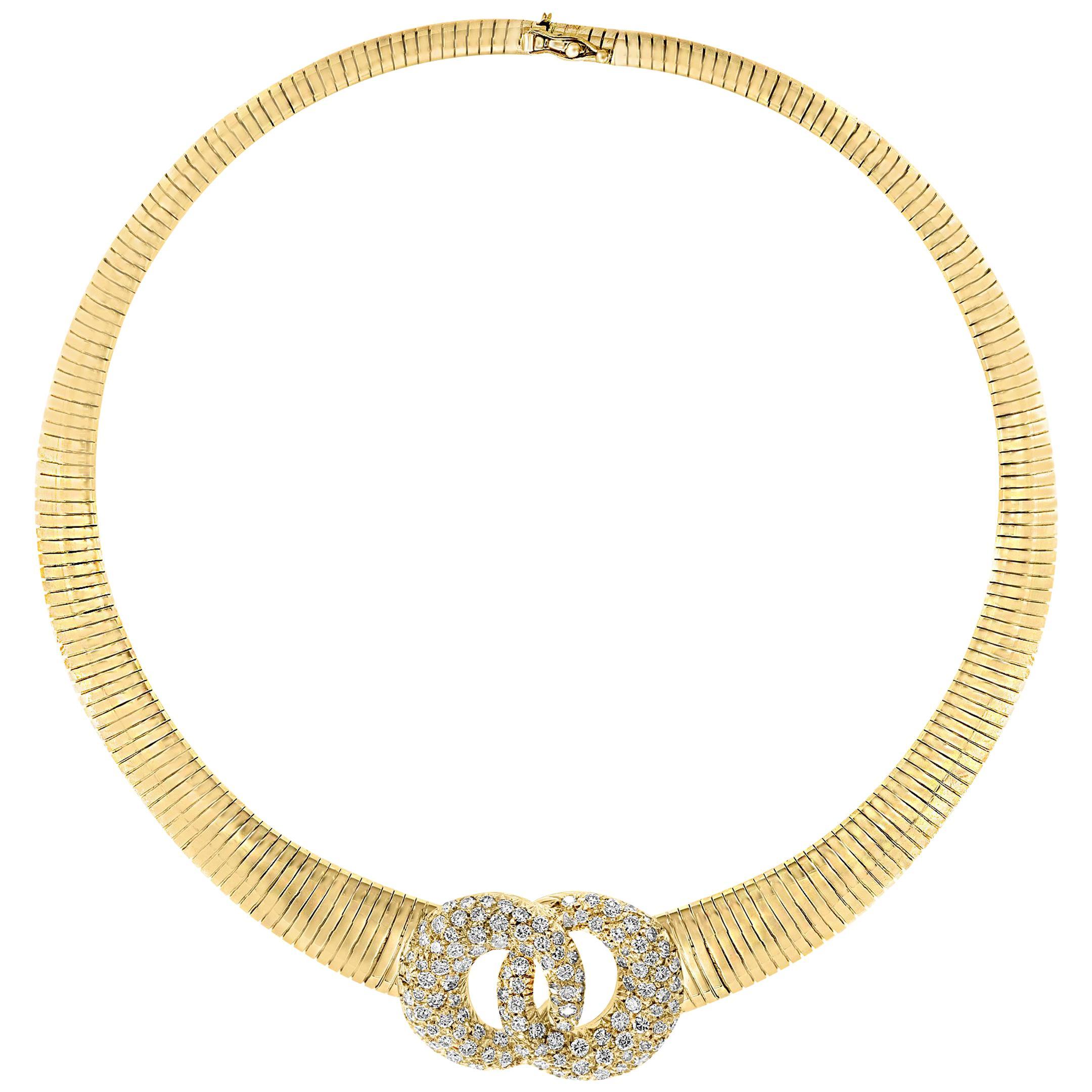Van Cleef & Arpels 18 Carat Yellow Gold and  6 Ct Diamond Collar/Choker Necklace