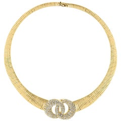 Van Cleef & Arpels 18 Carat Yellow Gold and  6 Ct Diamond Collar/Choker Necklace