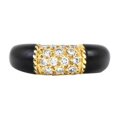Van Cleef & Arpels 18 Karat Black Onyx Diamond Ring