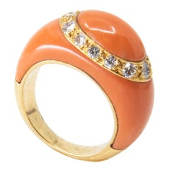 Van Cleef & Arpels 18 Karat, Diamond and Coral Ring