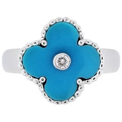 Van Cleef & Arpels 18 Karat Gold 0.06 Carat Diamond and Turquoise Alhambra Ring