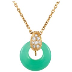 Van Cleef & Arpels 18 Karat Gold 0.20 Carat Diamond and Chrysoprase Necklace