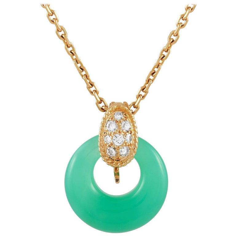 Van Cleef & Arpels 18 Karat Gold 0.20 Carat Diamond and Chrysoprase Necklace