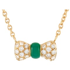 Van Cleef & Arpels 18 Karat Gold 0.39 Carat Diamond and Chrysoprase Pendant