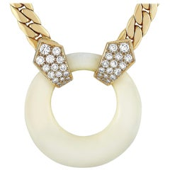 Van Cleef & Arpels 18 Karat Gold 0.65 Carat Diamond and White Coral Necklace