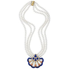 Van Cleef & Arpels 18 Karat Gold 0.82 Carat Diamond Lapis, Coral & MOP Necklace