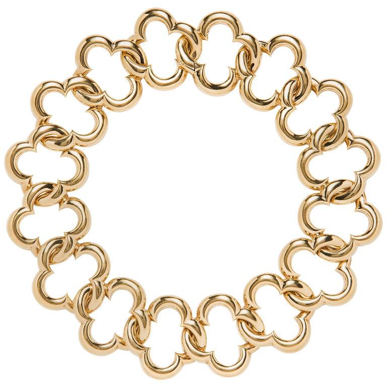 Van Cleef & Arpels 18 Karat Gold Alhambra Collar Necklace For Sale