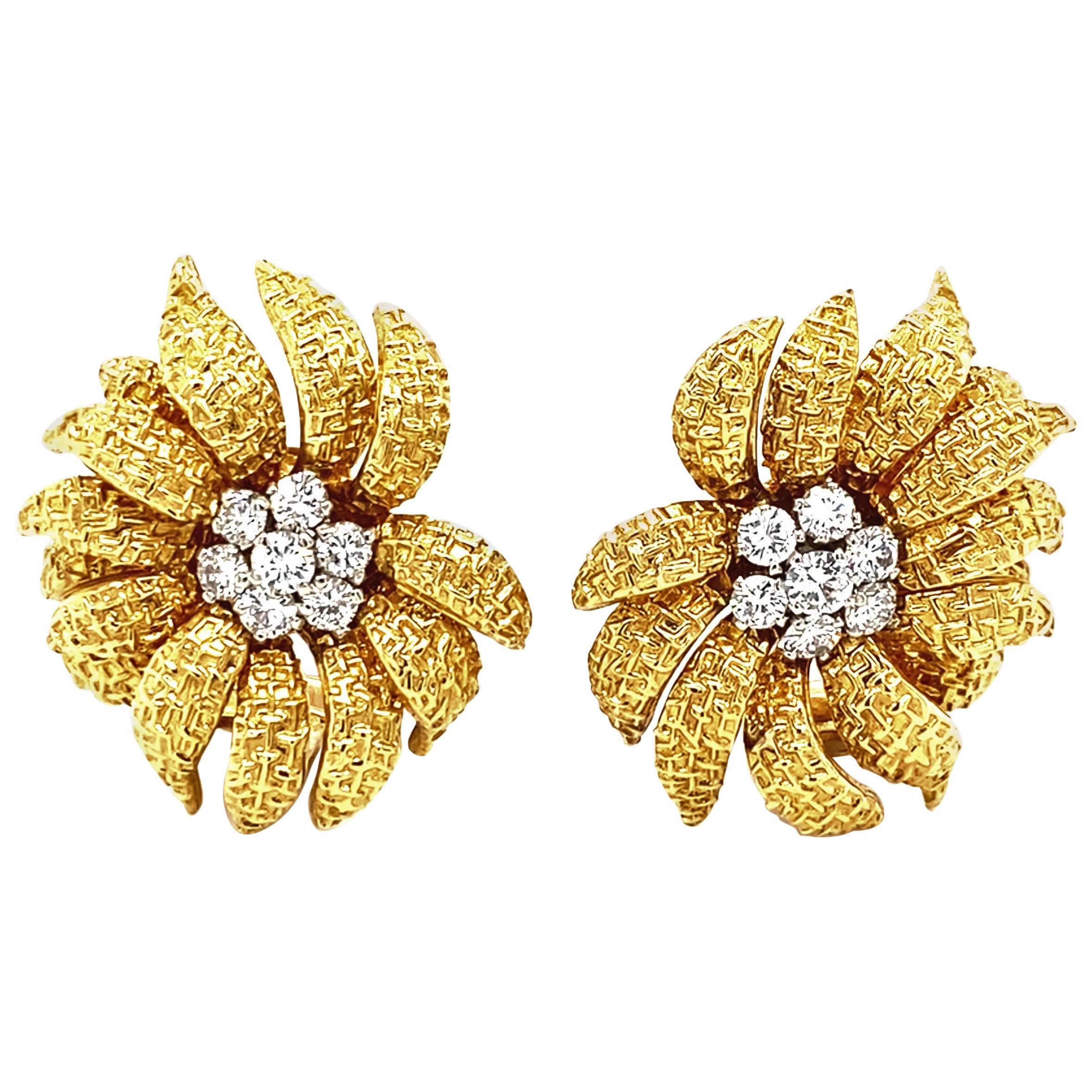 Van Cleef & Arpels 18 Karat Gold and Diamond Ear Clips, 1960s