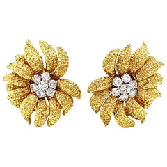 Van Cleef & Arpels 18 Karat Gold and Diamond Ear Clips, 1960s