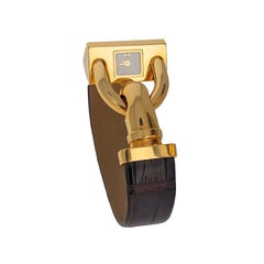 Van Cleef and Arpels Ladies Gold Leather Cadenas Wristwatch