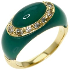 Van Cleef & Arpels 18 Karat Gold, Chrysoprase and Diamond Bombe Ring Vintage