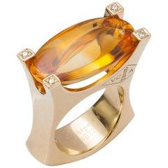 Van Cleef & Arpels 18 Karat Gold, Citrine and Diamond Ring
