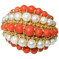 Van Cleef & Arpels 18 Karat Gold, Coral and Pearl Ring, circa 1960