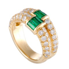 Van Cleef & Arpels 18 Karat Gold Diamond and Emerald Baguettes Double Band Ring