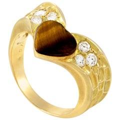 Van Cleef & Arpels 18 Karat Gold Diamond and Tiger's Eye Heart Ring