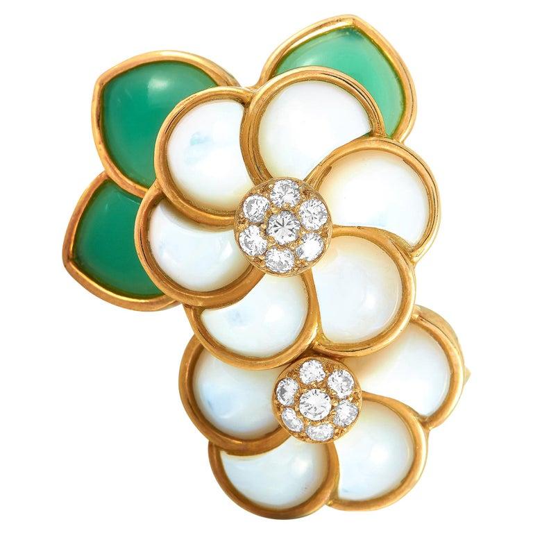 Van Cleef & Arpels 18 Karat Gold Diamond, Chrysoprase and Pearl Flower Brooch For Sale