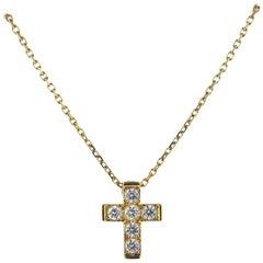 Van Cleef & Arpels 18 Karat Gold Diamond Cross Pendant Necklace 0.24 Carat